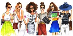Fashion illustration of street fashionistas by houston fashion illustrator Rongrong DeVoe
