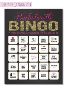 Bachelorette Party Game {INSTANT DOWNLOAD!} Printable Bachelorette Game Dare Sheet with Black, Pink & Gold Glitter by SweetBeeShoppe on Etsy https://www.etsy.com/listing/187859511/bachelorette-party-game-instant-download