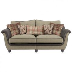 Galloway 3 Seater High Back Sofa In Blyth Fabric   Beige With Mink Check  Scatters