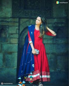 """50 Likes, 13 Comments - free living store (@freelivingstore) on Instagram: """"Lovely @thegreyhalfway looking gorgeous 🌟 in our WinoRed Anarkali and color blocked navy dupatta…"""""""