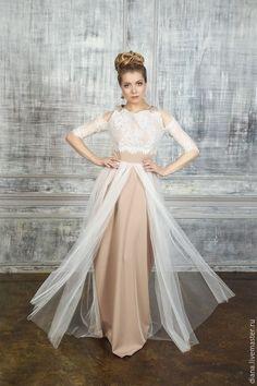 Купить Свадебно-веченее платье с кружевом - бежевый, платье невесты, платье на свадьбу, платье с кружевом