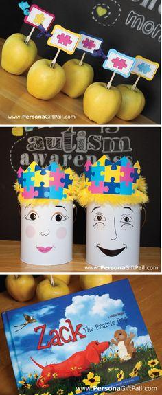 April Autism Awareness Month cupcake toppers crown printables