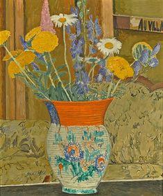 Hans Berger - Le Vase, 1935 - Huile sur toile, 50 x 42 cm. Vase, Artist, Nature, Painting, Oil On Canvas, Naturaleza, Painting Art, Paintings, Jars