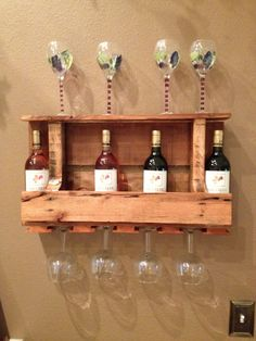 Wine racks made from recycled pallets. $95.00, via Etsy.