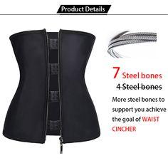 1bc898a9e Corset Body Shaper Women Latex Waist Trainer with Zipper Underbust Cincher  Waist Shaper Slimming Hot Shaper Belt Black Plus Size