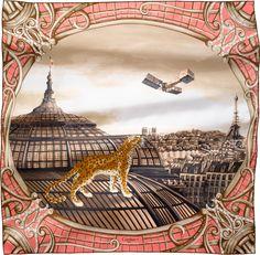 Scarf 90 cm x 90 cm Odyssée de Cartier motif Pink twill silk Cartier Panther, Silk Shawl, Silk Scarves, Blue Scarves, Vintage Scarf, Pink Silk, Illustrations, Overlays, Creations