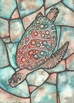 SEA TURTLE 5 x 7 print of detailed watercolour artwork, shell with intricate lace work patterns jewel tones, stained glass acid wash tie dye