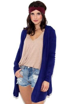 Olivaceous Cardigan Hoodie in Electric Blue The West Coast. $68.00