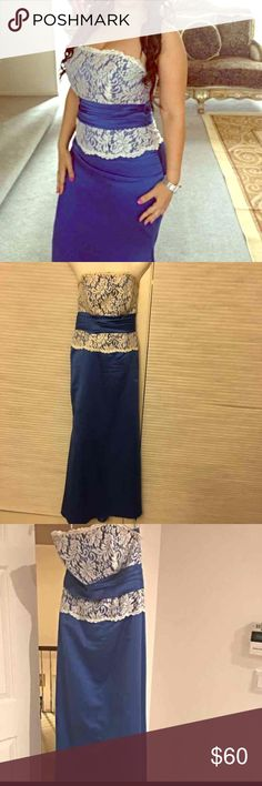 Prom dress Royal blue color/ white lace Custom made to size 8 Worn one time for wedding Dresses Strapless