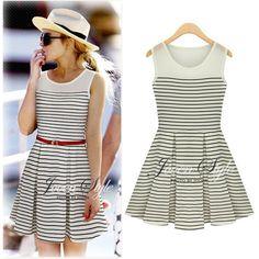 2014 new fashion women summer cotton dresses with belt o-neck strip patchwork dress sleeveless vestidos plus size free shipping US $8.99 - 9.99