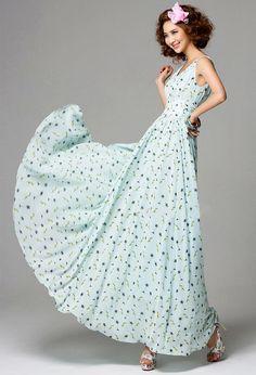Women Boho-Chic Chiffon V Neck Sleeveless Dress - Lalalilo.com Shopping - The Best Deals on Women's Dresses