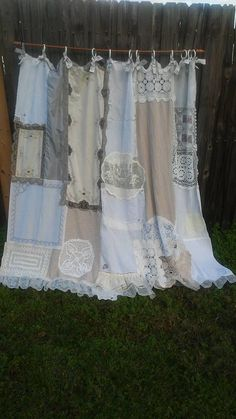Shower Curtain / Shabby Chic / Cottage Chic / Vintage Lace / Vintage Source by Tela Shabby Chic, Cortinas Shabby Chic, Shabby Chic Stil, Muebles Shabby Chic, Estilo Shabby Chic, Shabby Chic Fabric, Shabby Chic Curtains, Shabby Chic Bedrooms, Shabby Chic Cottage