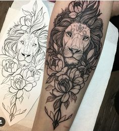 Lion and rose tattoo #RoseTattooIdeas #FamilyTattooIdeas