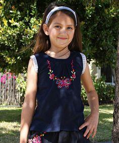 Look at this #zulilyfind! Navy Butterfly Embroidered Keskue Top - Infant, Toddler & Girls #zulilyfinds