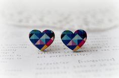 Geometric Loveheart Wooden Stud Earrings, $10.00 by Lovely Sparrow