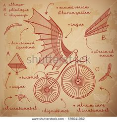 Find Leonardo Da Vinci Style Sketch Designs stock images in HD and millions of other royalty-free stock photos, illustrations and vectors in the Shutterstock collection. Thousands of new, high-quality pictures added every day. Bike Illustration, Character Illustration, Apocalypse Armor, Da Vinci Inventions, Bicycle Drawing, Renaissance, Steampunk, Retro Bicycle, 6th Grade Art