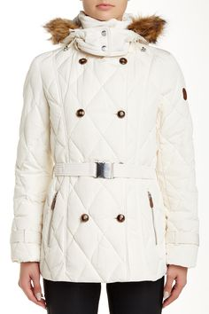 Down Faux Fur Trim Peacoat by Cole Haan on @nordstrom_rack