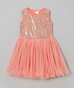 Look what I found on #zulily! Watermelon Sequin Dress - Toddler & Girls by Paulinie #zulilyfinds
