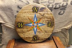 Primitive Artisan Made Wooden Compass Rose by ThePaintedPrimitive
