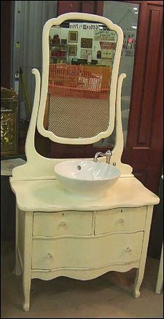 Photo of Front View - Antique Bathroom Vanity: Shabby Chic Oak Dresser with Sink Shabby Chic Bedrooms, Shabby Chic Furniture, Diy Furniture, Bathroom Furniture, Furniture Vanity, Furniture Projects, Rustic Furniture, Antique Furniture, Vintage Shabby Chic