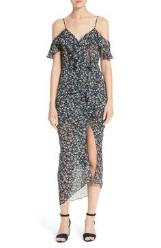 Marilyn Print Silk Cold Shoulder Dress