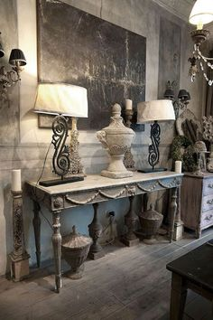 Vintage French soul ~ French grey and white decor, gorgeous French painted table – Vintage Home Decor Decor, French Country Decorating, Country Decor, Vintage Home Decor, Vintage House, French Furniture, Home Decor, Painted Table, Interior Design