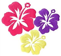 Hawaiian Flowers embroidery design from embroiderydesigns.com