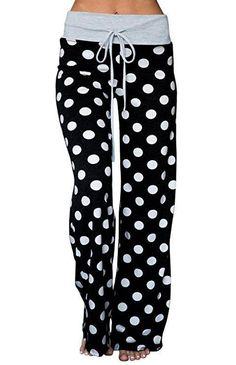 651e333d1fe5 AMiERY Women s Comfy Pajamas Pant Striped Polka Dot Floral Print High Waist  Wide Legs Casual Palazzo Lounge Pants