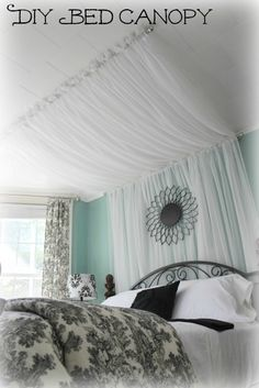 I love the color combination. Also the white wooden ceilings. might need to paint ours... Bed Canopy Tutorial