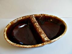 Divided Brown Drip Dish - Kathy Kale Pottery - Rustic, Vintage, Kitchen, Serveware by LizzieJoeDesigns.etsy.com