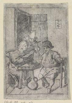Drie musicerende personen in herberg, anonymous, 1600 - 1700