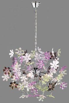 Flower Power! Dit kleurrijke sieraad, hangt aan het plafond en schittert als dauw op bloesem in de lentezon!  De lamp is uitgevoerd in chroom, acrylglazen bloemen in 5 verschillende kleuren 62cm : helder, paars, groen, mat wit, en zwart. Extra heldere bloemen zijn meegeleverd, waardoor het ook mogelijk is deze lamp volledig zonder kleurelementen te monteren . Huisdecoratie interieur verlichting . Hanglamp voor woonkamer eettafel keuken of slaapkamer. Belgium , Belgie www.rietveldlicht.be