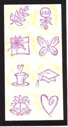 Sketch an Event; leaves, rattle, gift, butterfly, cup/saucer, graduation cap, bells, heart
