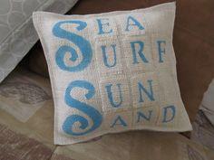Burlap Sea Surf Sun & Sand Beach  Accent Pillow by levisnlace, $10.00