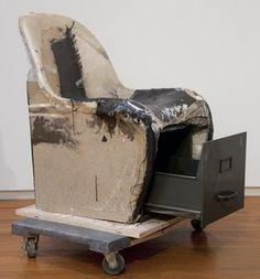 Verner Panton chair with filing cabinet Fiberglass, carbon fiber, epoxy resin plaster and metal, 2012