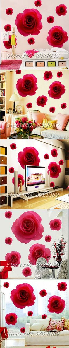 Timelive Brand New 2016 Elegant 11 Red Rose Flower Wall Sticker Art Decals Removable Home Decorations Vinyl Hot Sale $2.95
