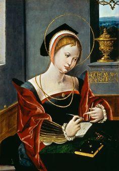 Workshop of the Master of the Female Half-Lengths, Saint Mary Magdalene writing Fine Art Prints, Framed Prints, Canvas Prints, Maria Magdalena, Christian Artwork, Dutch Golden Age, Muse Art, Renaissance Art, Ancient Art