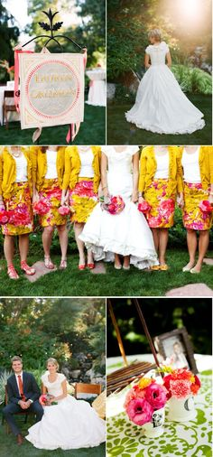Love the cheerful colors & the bridesmaids attire from this wedding!