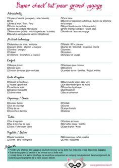 Super checklist pour grand voyage à télécharger | Glam & Conscious
