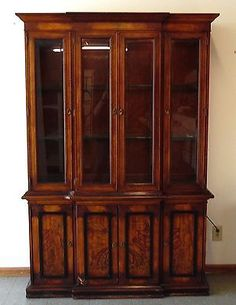 NATIONAL MT AIRY CHERRY CHINA CABINET Lighted Breakfront Hutch ...