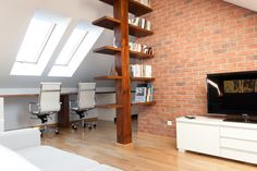 design red brick honey oak | , White and Colored Styles » Luxury Bookshelf Designs With Red Brick ...