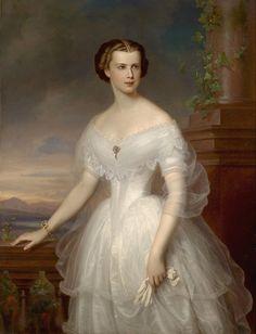 1853 Franz Schrotzberg - Portrait of Elisabeth of Bavaria, Empress of Austria Kaiser Franz Josef, Franz Josef I, Austria, Empress Sissi, Old Portraits, Fashion Portraits, Portrait Paintings, Fairy Queen, Herzog