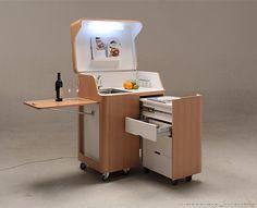 kenchikukagu mobile furniture hidden kitchen  Extra surface using a pullout