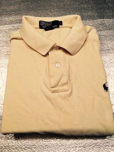 Men's POLO BY RALPH LAUREN Golf Shirt - Yellow - Textured - Size L