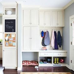 Mud Room Command Center  Like the cubbies for kids and hollow area for pet bed/food storage