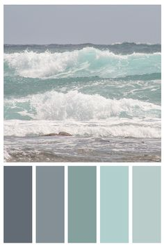 The gorgeous shades of turquoise will complement your coastal decor! My Wild Waves print available i Bedroom Paint Colors, Paint Colors For Home, Bathroom Colors, Calming Bedroom Colors, Beach Paint Colors, Best Color For Bedroom, Ocean Colors, Ocean Color Palette, Coastal Color Palettes
