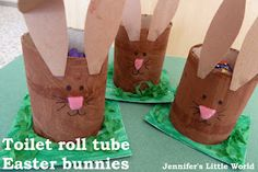 Easter egg bunnies made from toilet roll tubes, a toddler craft to make to hold a small Easter gift