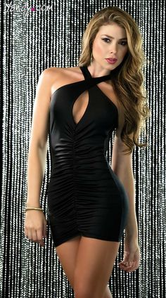 This sexy mini dress features a keyhole front, criss cross shoulder straps and front and back ruching. Criss Cross Keyhole Mini Dress, Little Black Dress, Little White Dress Girls Formal Dresses, Tight Dresses, Club Dresses, Sexy Dresses, Nice Dresses, Short Dresses, Formal Gowns, Mini Dress Clubwear, Clubwear Dresses