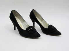 1950s Black Dress Heels with Rosettes