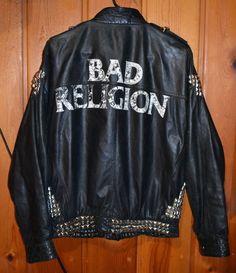 80's Punk Goth Leather Jacket Bad Religion Men's Large #Motorcycle